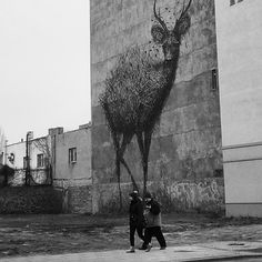 Mural made by Daleast, Łódź ul. Poland, Monochrome, Street Art, Instagram Posts, Painting, Monochrome Painting, Painting Art, Paintings, Painted Canvas