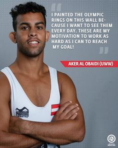 Aker Al Obaidi Quote. I painted the Olympic rings on this wall because I want to see them every day. These are my motivation to work as hard as I can to reach my goal! Olympic Wrestling, Wrestling Quotes, Golf Quotes, Golf Humor, European Football, Disc Golf, To Reach, Golf Fashion, My Goals