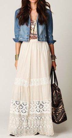 to Wear with a Maxi Skirt Steal The Fashion: Lace Maxi with a Denim jacket. Perfect outfit for spring.Steal The Fashion: Lace Maxi with a Denim jacket. Perfect outfit for spring. Feminine Mode, Moda Hippie, Summer Outfits, Cute Outfits, Dress Summer, Modest Outfits, Boho Outfits, Hippie Chic Outfits, School Outfits