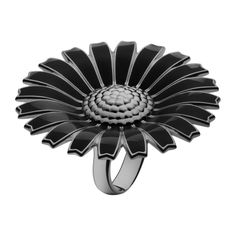 DAISY ring - ruthenium plated sterling silver with black enamel