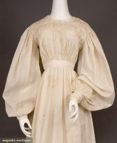 WHITE COTTON & EYELET DRESS, 1820s