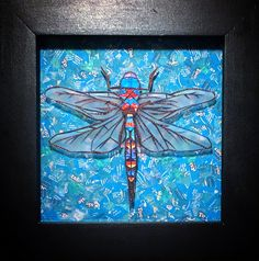 """""""In Flight"""" #drangonfly"""" #mosaic on glass in a double-cut 1.5"""" frame."""