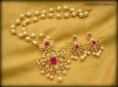 shubam pearls and jewellery. Beaded Jewelry Designs, Gold Earrings Designs, Gold Jewellery Design, Necklace Designs, Bridal Jewellery, Diamond Jewellery, Gold Jewelry Simple, Jewelry Model, Pearl Jewelry