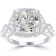 5.04 Carat H-VS1 Cushion Cut Natural Diamond Engagement Ring 18k Vintage Style - Vintage Diamond Rings - Rings