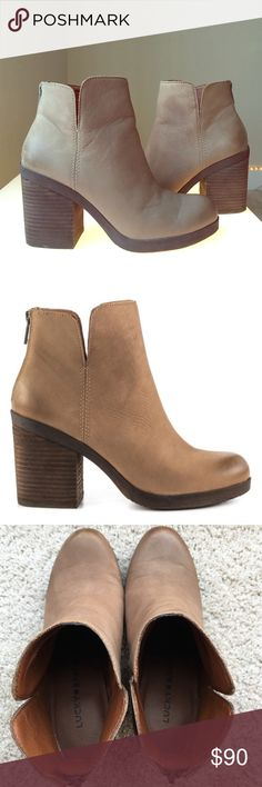 Lucky Brand 🍀 Orsann Bootie Description The Orsann will add some order to your collection. This no fuss boot by Lucky Brand is created with supple nude leather, 4 1/2 inch shaft height and back zip. Delivering a lift is a 3 1/2 inch block heel. Very gently worn with minimal signs of use.   Upper Material: Leather Upper Sole Material: Man Made Sole Fit: This Shoe Fits True To Size.  Age RangeAdult GenderFemale Women's Shoe Size7 ColorSesame Nubuck Leather Lucky Brand Shoes Ankle Boots…