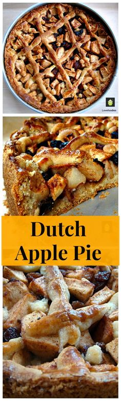 Dutch Apple Pie - Loaded with apples, raisins, cinnamon and the most delicious pastry I've ever eaten! Be sure to have a lovely cup of coffee to go with a slice of pie in true Dutch tradition! Dutch Recipes, Apple Pie Recipes, Sweets Recipes, Just Desserts, Delicious Desserts, Macarons, Just Pies, Dutch Apple, Pie Pops