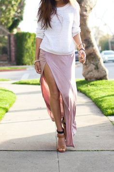 Side Slit Ruched Jersey Maxi Skirt via Goodnight Macaroon. (Though in reality, my legs look nothing like that!)