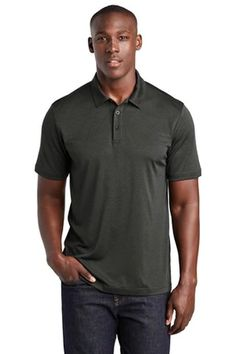Sport-Tek Endeavor Polo (00459-25); Primary; Decoration Type: Blank T Shirts, Text Style, Heather Black, Wholesale Clothing, Sweatshirts, Sports, Mens Tops, Technology, Texture