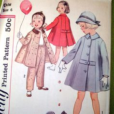 1958 #Vintage #Sewing #Pattern - Girls Coat and Pants - Simplicity 2714