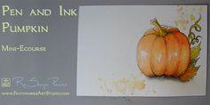 Free tutorial for pumpkin watercolor painting