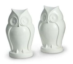 """White Owl Resin Bookends - Set of 2 (7.25""""x 4"""")"""
