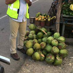 > #Jaraguenses comiendo coco en Monte Cristi