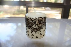 3x2.5 inch ivory vanilla cream Henna Candle on Etsy, $12.00