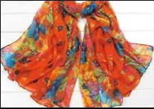 Cotton Wrap Shawl Scarf  20x60 in  Orange Floral  Weimaraner Rescue Charity