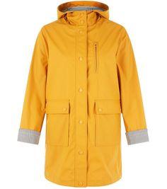 Petite Yellow Stripe Cuff Longline Matte Anorak | New Look