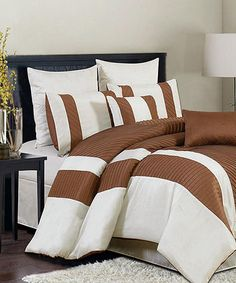 Take a look at this Taupe & White Bali Comforter Set by CHD Textiles on #zulily today!