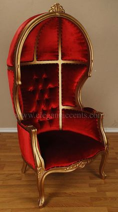 Gold Finish Porter Chair - Balloon, Bonnet, Canopy, Dome, Egg Shape, Gothic #Gothic