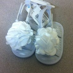 Newborn baby girl sandals Grey with silver stripes lining the inside of the sandal, big white flower on top, open toes Shoes