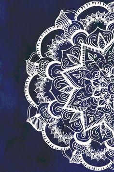 White Feather Mandala on Navy Art Print by Tangerine-Tane