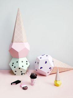 Giant Paper Ice Creams DIY kit - ice cream party decor & photo booth prop