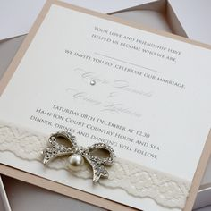 Luxury Ivory & Mink Bow & Lace Invitation Boxed (red back card)
