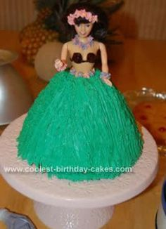 I made this Hawaiian Doll Birthday Cake Design for my granddaughter's 6th birthday. She was having a Hawaiian theme party so I decided to make a Hula girl.
