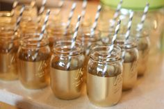 bridal shower mason jar drinks | http://mytrueblu.com/samanthas-black-and-white-bridal-shower/
