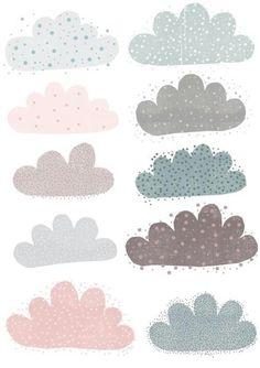 Clouds... Cloud Illustration, Pattern Illustration, Textures Patterns, Print Patterns, Decoration Creche, Surface Pattern Design, Illustrator, Collage, Design Inspiration