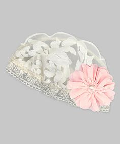Loving this Ivory & Pink Floral Lace Gabriella Beanie on #zulily! #zulilyfinds