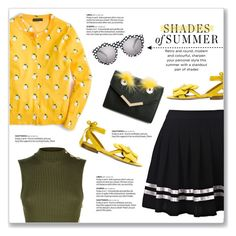 """""""Contrasts: Crazy Cool Sunglasses"""" by kellylynne68 ❤ liked on Polyvore featuring J.Crew, Balmain, Ashley Stewart, Olgana, Le Specs, sunglasses, coolsunglasses and contrasts"""