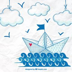 Hand drawn paper boat background Free Vector