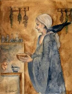 Kitchen witch- love this image