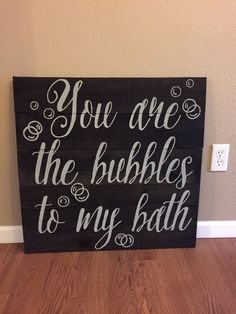 Pallet Sign Large You are the Bubbles to my Bath - Bathroom Love Rustic Shabby Chic Pallet Wood Art Hand Painted (Item Number PWS0130117)