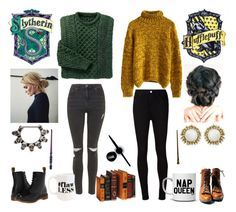 """Slytherin and Hufflepuff Friendship - Fall Look #1"" by kaffepausen on Polyvore featuring Chicwish, Dr. Martens, AG Adriano Goldschmied, Topshop, Moon and Lola, Maybelline and Kendra Scott"