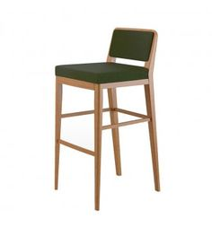 The Roma ia a sleek and stylish bar stool. Solid beech wood frame is available in various finishes. 3/4 upholstered back with show wood frame. Back rails flow down to form back legs. Four square tapered legs. Side stretchers and back stretcher. Bar stool features a footrest also. Seat pad upholstered. Upholstery is framed with piping. Upholstered in fabric of customer's choice. Bar stool is ideal modern bar / nightclub furniture.