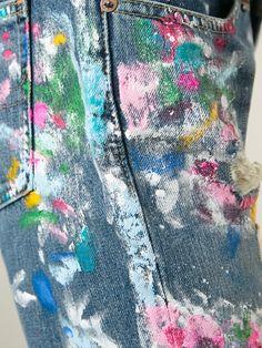 Polo Ralph Lauren distressed paint splatter jeans Faux Painting, Distressed Painting, Fabric Painting, Ralph Lauren Paint, Polo Ralph Lauren, Painted Jeans, Painted Clothes, Reuse Clothes, Paint Splatter Jeans