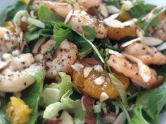 LUNCH:  Shrimp, mandarin spinach salad w/ endive, arugula, fresh basil, red onions, sliced almonds. // Dressing:  olive oil, lemon juice, basil, parsley, fresh garlic, salt & pepper