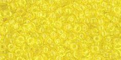 Toho 11/0 Round Japanese Seed Bead, TR11-12, Transparent Lemon