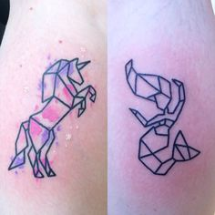 Unicorn and Mermaid origami with watercolour. Mermaid to be finished off soon done by @sammielou_tattoos today 07596237438 or worcestertattoostudio@hotmail.co.uk for booking information
