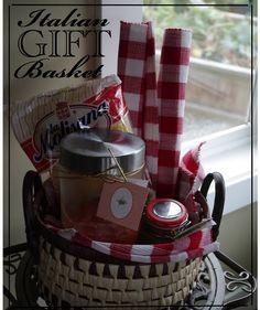 """neighbor, new parents: Italian dinner gift basket: tomato sauce, Italian seasoning, gourmet pasta, four Italian style place mats, Italian flags, parmesan, """"just add meat"""""""