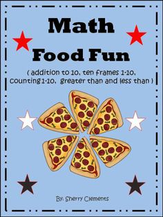 This FUN math packet includes 65 pages of food fun. The skills include addition (sums to 10), greater than, less than, ten frames, and counting sets. These five skills (one skill per page) include a page involving each of these 13 food items (pizza, hot dogs, hamburgers, drinks, corn dogs, chicken, candy apples, cotton candy, french fries, ice cream, milkshakes, popcorn, and pretzels).---$