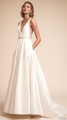 bhldn spring 2018 bridal sleeveless deep v neck simple clean a line wedding  dress open v 546585f63ebc