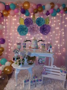 DIY Birthday Party Decorations for Girls – Unicorns 10th Birthday Parties, Unicorn Themed Birthday Party, Girls Birthday Party Themes, Diy Birthday, Deco Buffet, Birthday Party Decorations Diy, Diy Party, Baby Shower, Bridal Shower