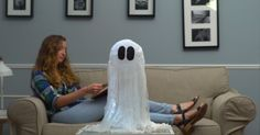 This DIY Halloween decoration is amazing! Put this Floating Cheesecloth Ghost at your front door, and you're guaranteed to spook (and impress) all your trick-or-treaters. Don't forget to share this post with all the Halloween lovers in your life!MaterialsCheeseclothBlack feltCornstarchWaterSomething to support the ghost while it dries (we used