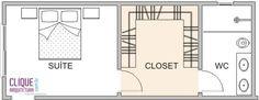 Closet: Aspectos Construtivos - Clique Arquitetura Adorei o banheiro depois do c. Master Bedroom Addition, Master Bedroom Plans, Master Bedroom Layout, Master Bedroom Closet, Bedroom Floor Plans, Small Room Bedroom, Bedroom Layouts, Bathroom Layout, Bathroom Closet