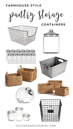 Farmhouse Style Pantry Storage Recently, I shared some Pantry Organization Inspiration with you all. Today, I will be sharing my favorite Farmhouse Style Pantry Storage. Kitchen Organization Pantry, Home Organisation, Pantry Ideas, Diy Organization, Organized Pantry, Organizing Ideas, Organising, Kitchen Ideas, Kitchen Rustic