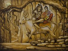 Shiva Print featuring the painting Shiva Parvati Ganesha by Vrindavan Das