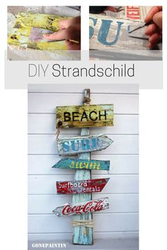 Christmas DIY sign with chalk color - How do you build and paint a beach sign? Instructions for building a signpost, beach sign in shabby - Shabby Chic Stil, Shabby Chic Decor, Bohemian Decor, Beach Signs Wooden, Beach House Decor, Beach Houses, Nautical Home, Nautical Signs, Cozy Cottage