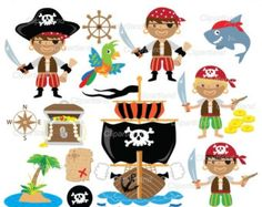 Piratas y piratas la nave Digital Clip Art por CollectiveCreation