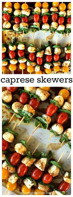 Mini Caprese Skewers are a light, quick appetizer to serve at a dinner party, or bring to a picnic or potluck. Great for any season of entertaining!